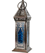 Azurus Turquoise Glass & Metal Tealight Lantern