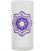 Purple Lotus Etched Glass Pillar Candle Holder