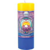 Renewal - Crystal Journey Mandala Pillar Candle - Lotus flower