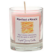 Manifest a Miracle - Crystal Journey Filled Glass Votive Candle