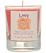 Crystal Journey Filled Glass Votive Candle - Love