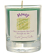 Crystal Journey Filled Glass Votive Candle - Money