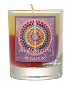 Crystal Journey Mandala Glass Votive - Meditation - Wisdom