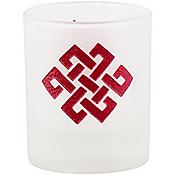 Eternal Knot Etched Glass Votive Holder