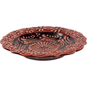 Turkish Ceramic Candle Plate - Red