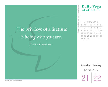 Daily Yoga Meditations 2012 Desk Calendar Sample Page