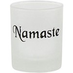 Namaste Etched Glass Votive Holder
