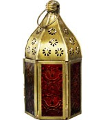 Orange and Brown Glass & Metal Tealight Lantern