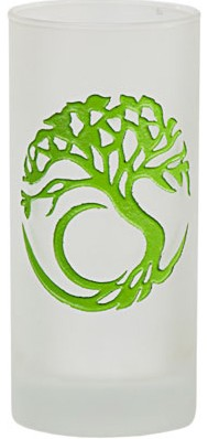 Tree of Life Etched Glass Pillar Candle Holder