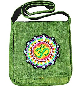 "OM Symbol Hemp Shoulder Bag (Green) - 12"" x 14"""
