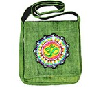 OM Symbol Hemp Shoulder Bag (Green) - 12