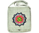 OM Symbol Hemp Shoulder Bag (Natural) - 12