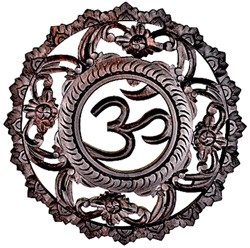 "Hand Carved Wood OM Symbol Wall Hanging - 12"" Diamter"