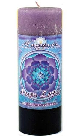 Illumination - Crystal Journey Mandala Pillar Candle - Aum Lotus