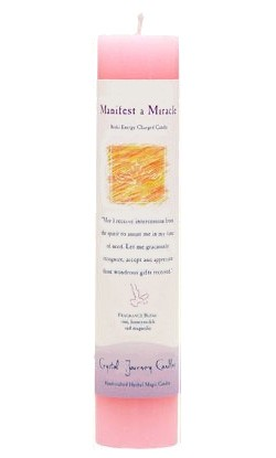 Manifest a Miracle - Crystal Journey Herbal Magic Pillar Candle