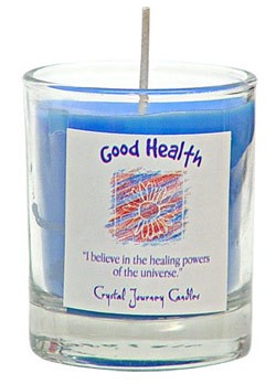 Good Health - Crystal Journey Filled Glass Votive Candle