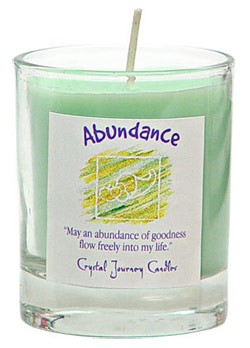 Abundance - Crystal Journey Filled Glass Votive Candle