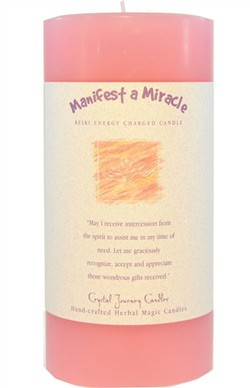 Manifest a Miracle - Crystal Journey Herbal 3X6 Pillar Candle