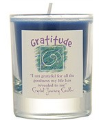 Crystal Journey Filled Glass Votive Candle - Gratitude