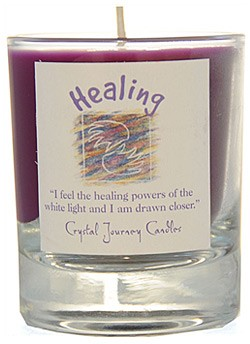 Crystal Journey Filled Glass Votive Candle - Healing