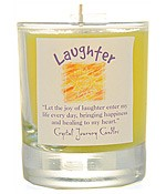 Crystal Journey Filled Glass Votive Candle - Laughter