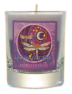 Crystal Journey Mandala Glass Votive - Dragonfly - Intuition