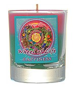 Crystal Journey Mandala Glass Votive - Wheel of Life - Happiness