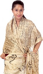 Om Gayatri Mantra Prayer Shawl - Pure Tussar Silk - Black