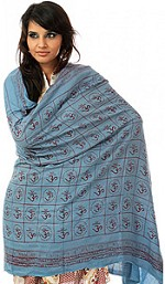 Blue Prayer Shawl with Printed Om
