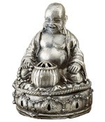 Cone Incense Burner - Laughing Buddha Pewter