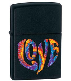 Zippo Classic Lighter - Love (Black Matte)