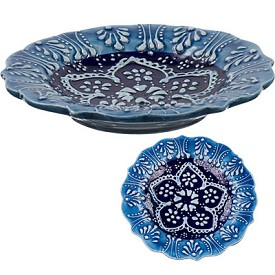 Turkish Ceramic Candle Plate - Blue