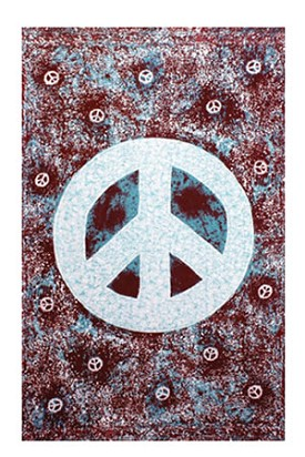 Blue Peace Sign Splatter Tapestry - 60 x 90