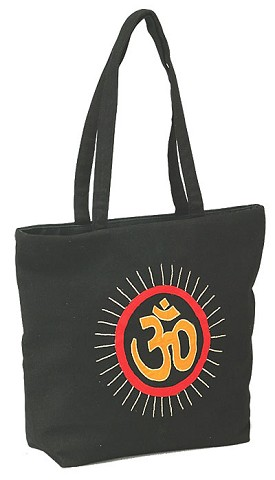 "Cotton Embroidered OM Bag With a Handle - 13"" x 16"""