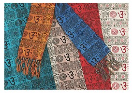 "Silk Stole - Om Print - 14"" x 60"" - Assorted Colors"