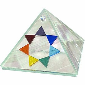 "7 Chakras 4"" inch Art Glass Pyramid -  Moon Glass"