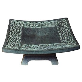 "Soapstone Pillar Candle Tray - 4.5"" & 6"""
