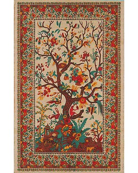"Red Tree of Life Tapestry, Bed Spread, Wall Hanging - 70"" x 106"""