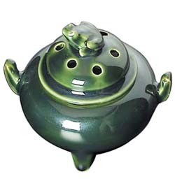 Ceramic Frog Bowl-Burner for Stick & Cone Incense