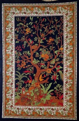 Tree of Life Tapestry - Black/Gold