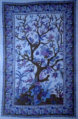 Green Tree of Life Tapestry - Blue/Lavender
