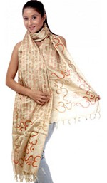 Om Gayatri Mantra Prayer Shawl - Pure Tussar Silk - Orange