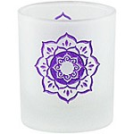 Lotus  Etched Glass Votive Holder