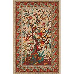 Red Tree of Life Tapestry, Bed Spread, Wall Hanging - 70